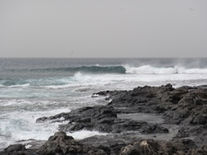 Black volcanic rocks and waves, La Caleta, Tenerife - 2015.